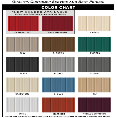 Customize your building with the color that best suits your desire. 15 Colors to choose from